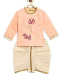 Tiber Taber Full Sleeves Lotus Print Kurta With Dhoti - Pink