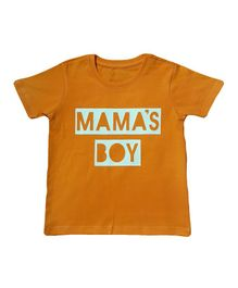 Orange Republic Half Sleeves Mama's Boy Printed Tee - Brown
