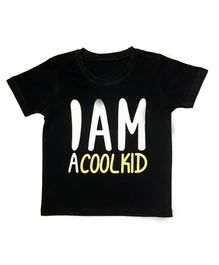 Orange Republic Half Sleeves I Am A Cool Kid Printed Tee - Navy Blue