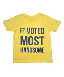 Orange Republic Half Sleeves Voted Most Handsome Printed Tee - Yellow