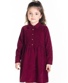 Cherry Crumble By Nitt Hyman Full Sleeves Solid Color Dress - Wine