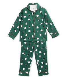 Cherry Crumble By Nitt Hyman Full Sleeves Snow Man Printed Night Suit With Sleeping Mask - Green