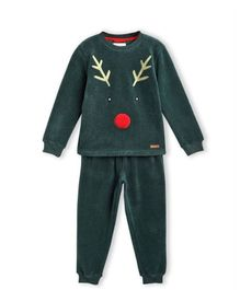 Cherry Crumble By Nitt Hyman Full Sleeves Reindeer Design Night Suit With Sleeping Mask - Green