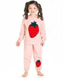 Cherry Crumble By Nitt Hyman Full Sleeves Strawberry Patch Night Suit - Pink