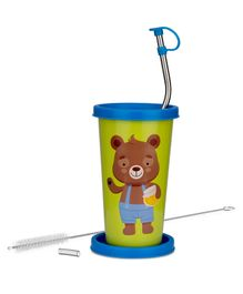 Falcon We Bare Bears Stainless Steel Straw Sipper Green - 370 ml