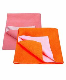 Mom's Home Bed Protector Dry Sheet Medium Size Pink & Orange - Pack of 2