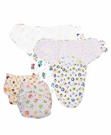 Mom's Home Reusable Pocket Diapers With 2 Swaddle Wraps Pack of 2 - Multicolor