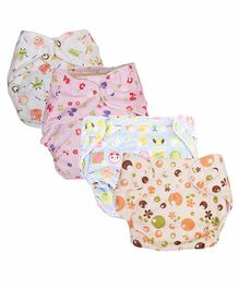 Mom's Home Reusable Pocket Diapers With 4 Inserts Pack of 4 - Multicolor