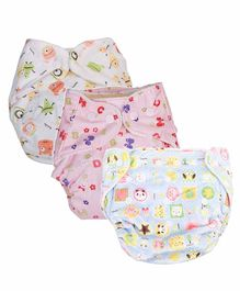 Mom's Home Reusable Pocket Diapers With 3 Inserts Pack of 3 - Multicolor
