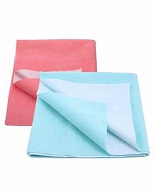 Mom's Home Bed Protector Dry Sheet Pack of 2 - Pink and Blue