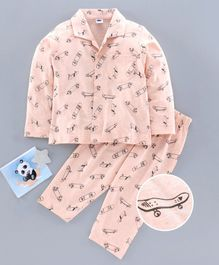 Teddy Full Sleeves Night Suit Skateboard Print - Pink