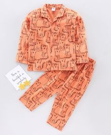 Teddy Full Sleeves Night Suit Tiger Print - Orange
