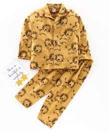 Teddy Full Sleeves Night Suit Lion Print - Yellow