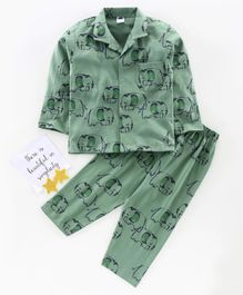 Teddy Full Sleeves Night Suit Elephant Print - Green