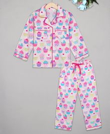 Budding Bees Full Sleeves Cap Cake Printed Night Suit -Pink