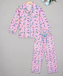 Budding Bees Full Sleeves Unicorn Printed Night Suit -Pink