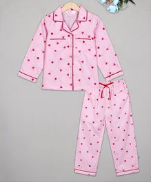 Budding Bees Heart Printed Printed Night Suit - Pink