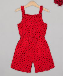 Budding Bees Sleeveless Printed Jumpsuit -Red