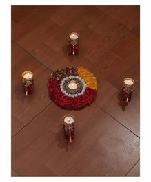 Passion Petals Diwali Flowers Rangoli With 4 Elephant T Light Holders & Lights - Brown