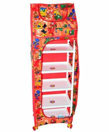 FunBlast 5 Shelves Foldable Almirah Cartoon Print - Red