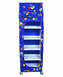 FunBlast 5 Shelves Foldable Almirah Teddy Print - Blue