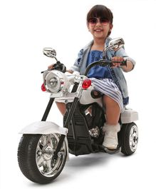 Babyhug Ultimate Cruiser Battery Operated Ride On Bike With Foot Accelerator - Silver & Black