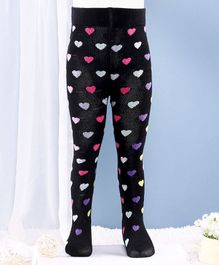 Mustang Footed Tights Heart Design - Black