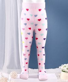 Mustang Footed Tights Heart Design - Light Pink