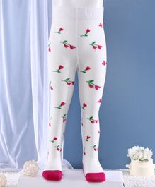 Mustang Footed Tights Floral Design - Off White