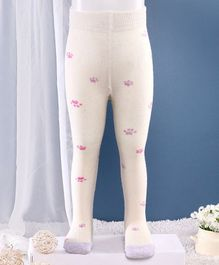 Mustang Footed Tights Paw Paw Design - Off White