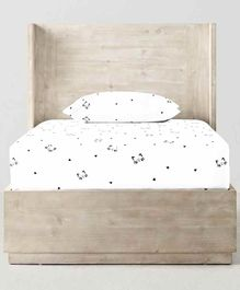 The Baby Atelier 100% Organic Fitted Single Sheet Cats Print - White