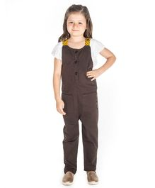 Cherry Crumble By Nitt Hyman Short Sleeves Top With Solid Colour Dungaree - Brown