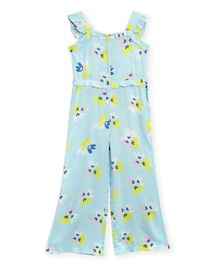 Cherry Crumble By Nitt Hyman Sleeveless Floral Print Jumpsuit - Sky Blue