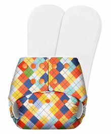 SuperBottoms Basic Pocket Diaper with 2 Inserts Geometric Print  - Multicolour