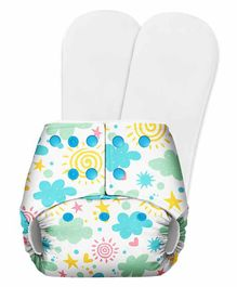 SuperBottoms Basic Pocket Diaper with 2 Inserts Cloud Print  - White Blue