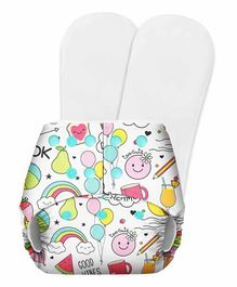 SuperBottoms Basic Pocket Diaper with 2 Inserts Doodle Print - Multicolour
