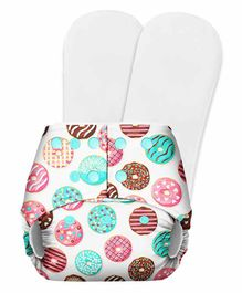 SuperBottoms Basic Pocket Diaper with 2 Inserts Donut Print - Multicolour