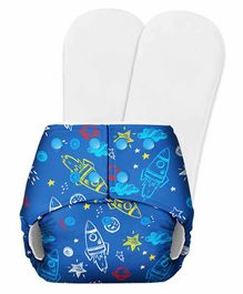 SuperBottoms Basic Pocket Diaper with 2 Inserts Rocket Print - Blue