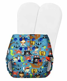 SuperBottoms Basic Pocket Diaper with 2 Inserts Pirate Print - Blue