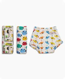 SuperBottoms 100% Cotton Padded Underwear Diapers Pack of 3 - Multicolour