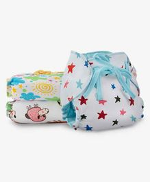 SuperBottoms Dry Feel Cloth Nappies Pack of 3 - Multicolour