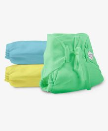 SuperBottoms Dry Feel Cloth Nappies Pack of 3 - Green Blue Yellow