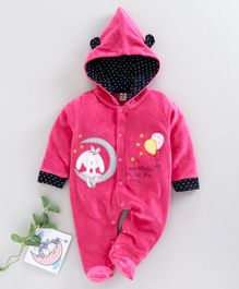 Brats And Dolls Full Sleeves Footed Winter Sleep Suit - Pink