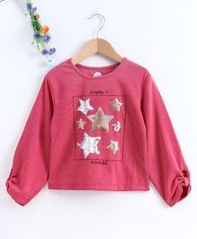 Vitamins Full Sleeves Top Sequin Filled Star Embellishment - Pink