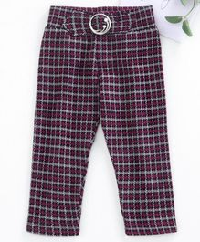 Vitamins Full Length Checked Jeggings - Pink