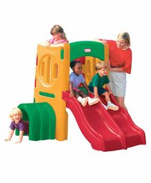 Little Tikes Twin Slide with Climber - Green Yellow