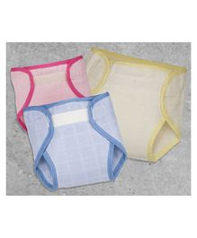 Lollipop Lane Muslin Cloth Nappy New Born Size Pack of 3 - Red Blue Yellow