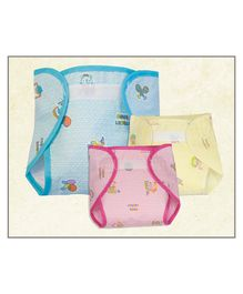 Lollipop Lane Waterproof New Born Nappies with Belt for Insert  Pack of 3 - Multicolour