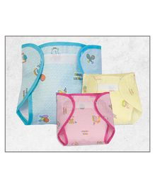Lollipop Lane Waterproof Nappies with Belt for Insert Large Pack of 3 - Multicolour