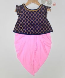 Many frocks & Polka Dot Brocade Cap Sleeves Kurta & Dhoti Set - Purple & Pink